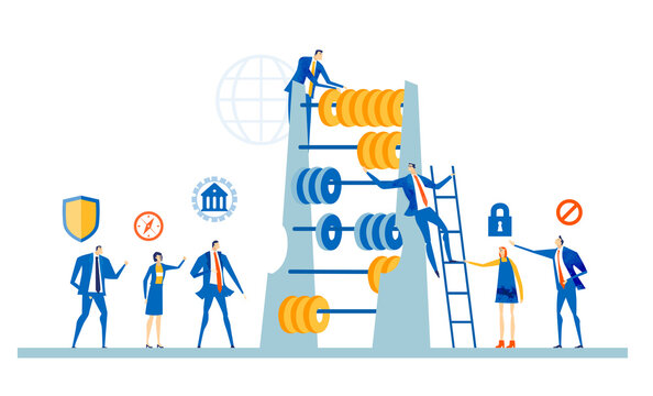 Team of successful business people, bankers working with abacus, calculating profit, expenses, discussing financial strategy for the future. Business concept illustration