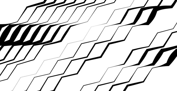 Zig-zag, criss-cross, wavy, waving and serrated, jagged lines, stripes design element. Corrugated strips, streaks design element, black and white, monochrome geometric background, texture and pattern