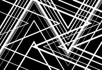Zig-zag, criss-cross, serrated, crinkled angular grid, mesh, lattice or grating, grill of random angled lines. Abstract geometric black and white, monochrome background, texture and pattern Wall mural