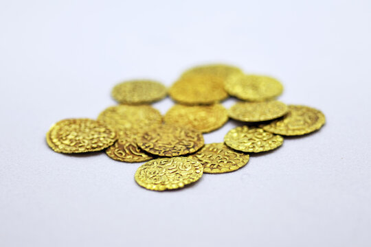 Ancient Aceh gold coins (Dirham Aceh). Numismatic in the collection of the Pedir Museum.