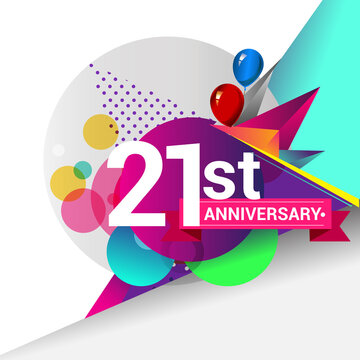 21st Years Anniversary logo with colorful geometric background, vector design template elements for your birthday celebration.