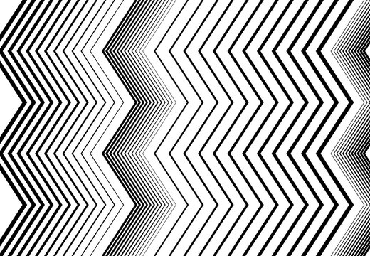 Vertical zig-zag, criss-cross, wavy, waving and serrated, jagged lines, stripes. Corrugated strips, streaks, black and white, monochrome, grayscale geometric background, texture and pattern