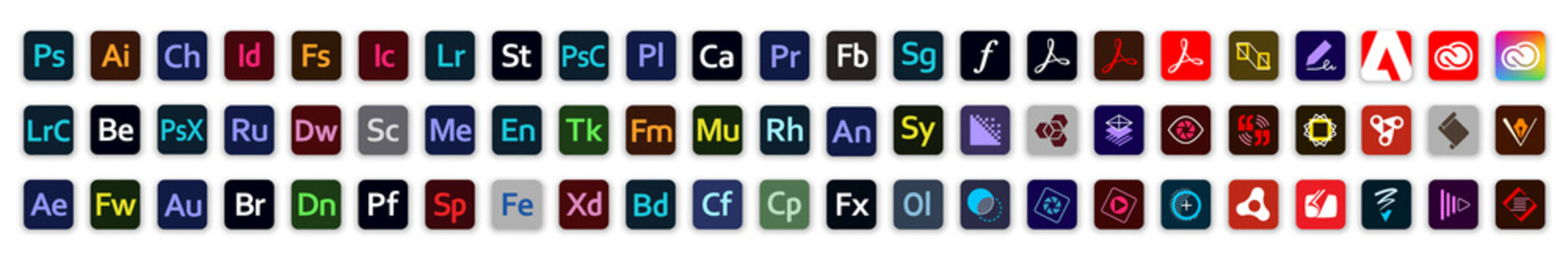 Kiev, Ukraine - October 31, 2020: Set button icons Adobe products: Photoshop, Illustrator, InDesign, Acrobat DC, Premiere Pro, Lightroom, After Effects, Dreamweaver, Creative Cloud. Editorial vector.