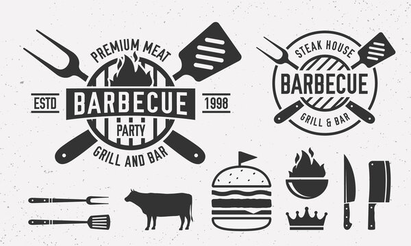 Vintage Barbecue logo with bbq utensils. Steak House logo template with grill fork, spatula, burger, beef. Emblem set for Restaurant business. Butchery, Barbecue, Steak House.  Vector illustration