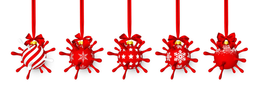 Red shiny glowing Christmas ball like as virus unit with red bow. Xmas glass ball. Holiday decoration template. Vector illustration