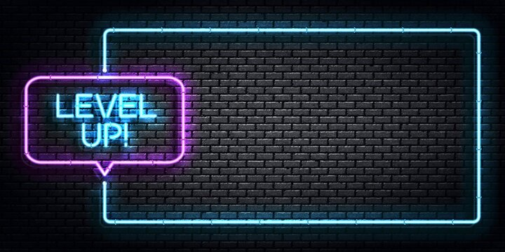 Vector realistic isolated neon sign of Level Up frame logo for template decoration and covering on the wall background. Concept of game.