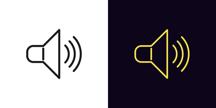 Outline speaker icon. Linear sound sign, isolated megaphone symbol with editable stroke