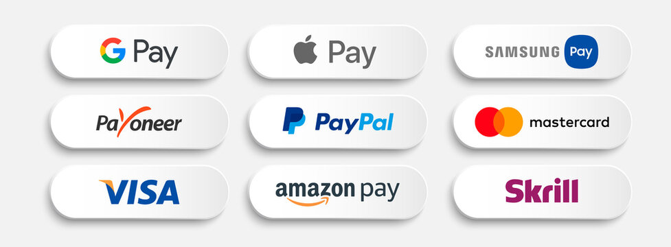 Payment systems white buttons. Vector collection.