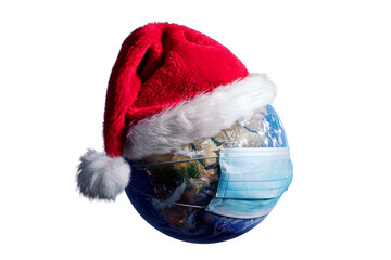 Earth With Surgical Mask and Santa Hat - Virus Infection Covid 19 - World with Coronavirus - Christmas Concept 3D Illustration