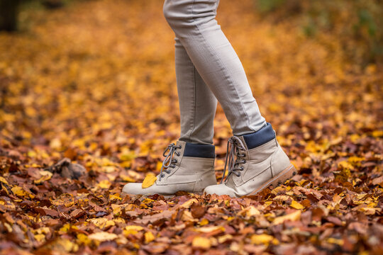 Walking with hiking boot in autumn leaves on footpath at forest