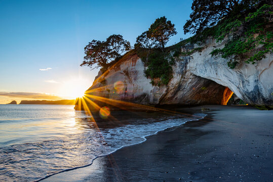 Morning at Cathedral Cove near Hahei, New Zealand