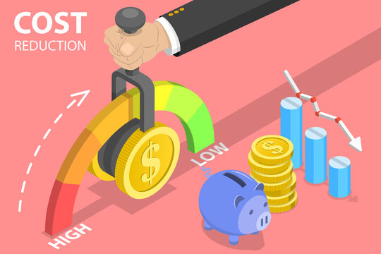 3D Isometric Flat Vector Conceptual Illustration of Cost Reduction, Price Minimising, Dollar Rate Decrease, Falling Rate of Profit.