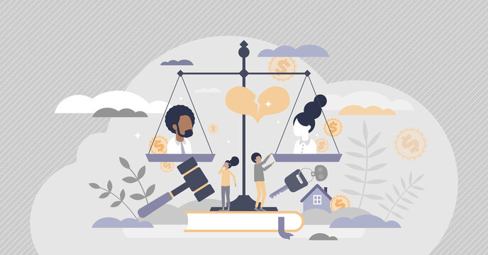 Family law as legal custody and property split in divorce tiny person concept