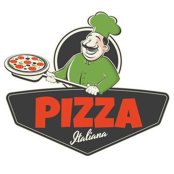 funny pizza sign in retro style