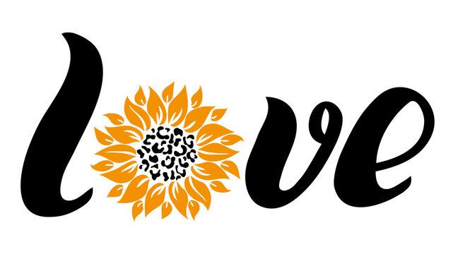 Love sunflower leopard print vector illustration for chirt