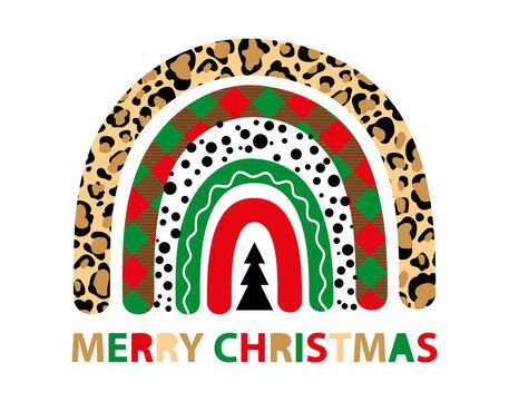 Plaid Christmas tree rainbow winter leopard vector