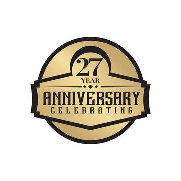 27th year anniversary logo design template