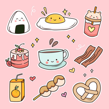 Cute breakfast food doodle sticker set vector