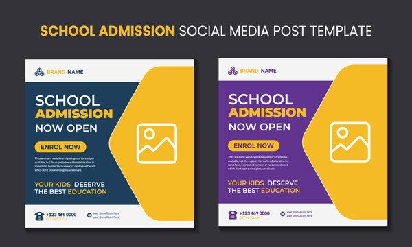 School admission social media marketing post template design.