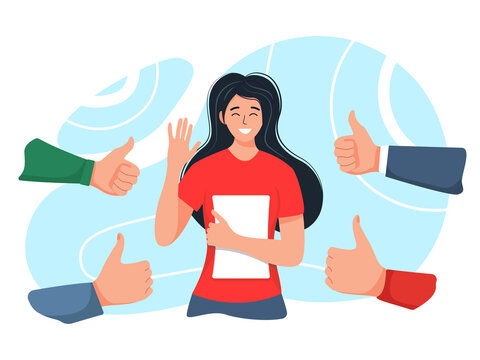 Smiling happy young woman surrounded by hands with thumbs up. The concept of public approval, recognition, acceptance and appreciation. vector illustration in cartoon flat style.