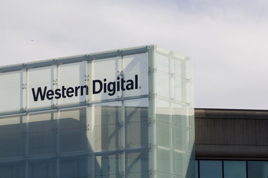Milpitas, CA, USA - Feb 27, 2020: American computer hard disk drive manufacturer and data storage company Western Digital Corporation's office in Milpitas, California.