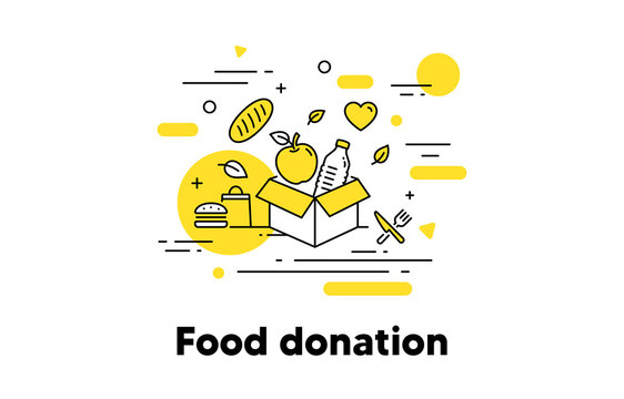 Food donation line icon. Meal box, Donate food, Pantry. Share meal, food charity concept illustration. Humanitarian help box, global hunger line icon. Apple, water and bread. Editable stroke. Vector