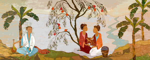 Ancient China. Classic wall drawing. Murals and watercolor asian style. Hand-drawn vector illustration. Oriental people. Tea ceremony. Traditional Chinese paintings. Tradition and culture of Asia