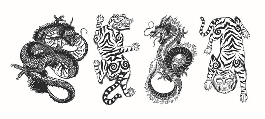 Japanese dragon. Asian Japanese tiger. Mythological animal or traditional reptile. Symbol for tattoo or label. Engraved hand drawn line art Vintage old monochrome sketch, ink. Vector illustration.