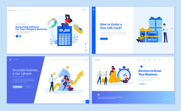 Web page design templates collection of accounting, finance, business success, strategy, investment, gift card, e-commerce. Vector illustration concepts for website and mobile website development.