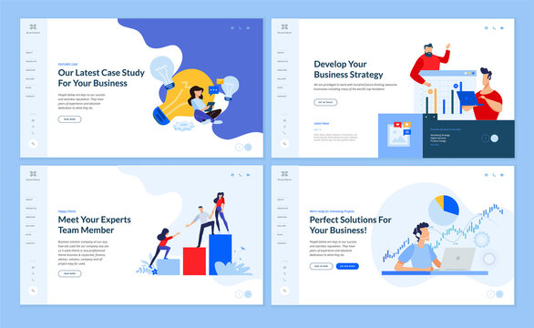 Web page design templates collection of business plan and strategy, crowdfunding, data analysis, our team page. Vector illustration concepts for website and mobile website development.