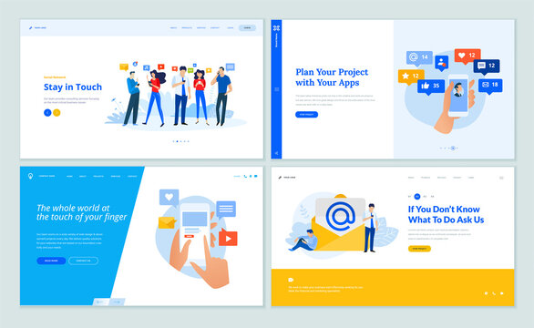 Web page design templates collection of social network, email marketing, online communication, mobile services and apps. Vector illustration concepts for website and mobile website development.