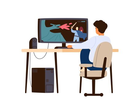 Boy playing computer game at home. Child player sitting at desk and enjoy gaming online. Teenager hobby and leisure activity. Flat vector cartoon isolated illustration