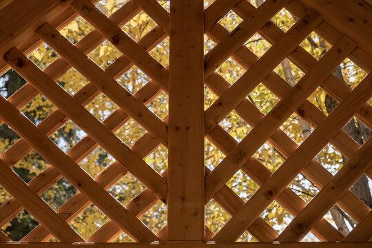 Vintage rustic wooden gazebo grille. Wooden lattice pattern.