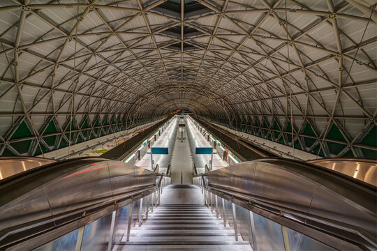 Singapore - March 2020: Interior of Singapore MRT (Mass Rapid Transit) TUAS station.