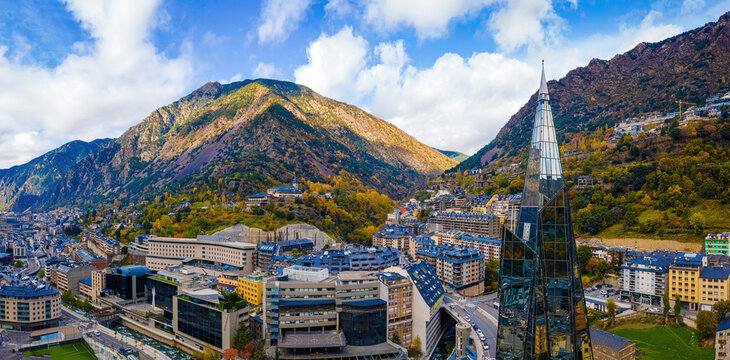Aerial view of Andorra la Vella, the capital of Andorra, in the Pyrenees mountains between France and Spain