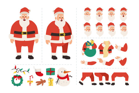 Santa claus cartoon character for animation with various facial expressions, hand gestures, body and leg movement illustration