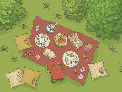 Picnic view from above top graphic color landscape sketch illustration vector