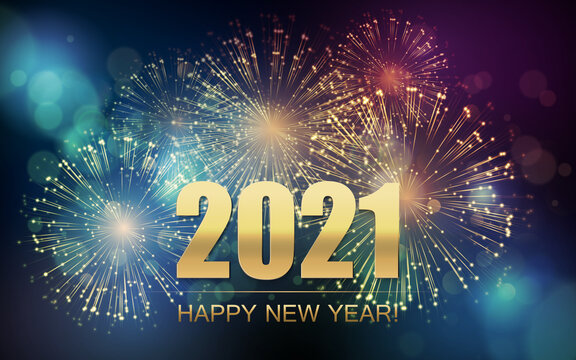 2021 New Year Abstract background with fireworks. Vector