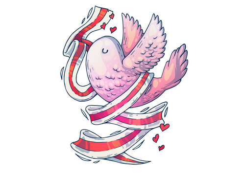 Beautiful bird with a ribbon. Creative cartoon illustration. Picture for print, advertising, applications and T-shirt print.
