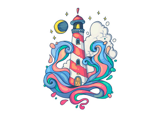Storm at sea near the lighthouse. Creative cartoon illustration. Picture for print, advertising, applications and T-shirt print.