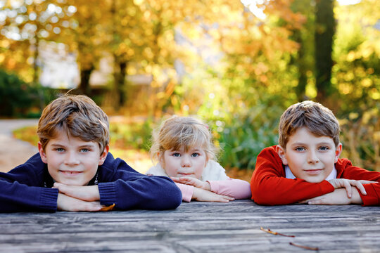 Portrait of three siblings children. Two kids brothers boys and little cute toddler sister girl having fun together in autumn park. Happy healthy family playing, walking, active leisure on nature