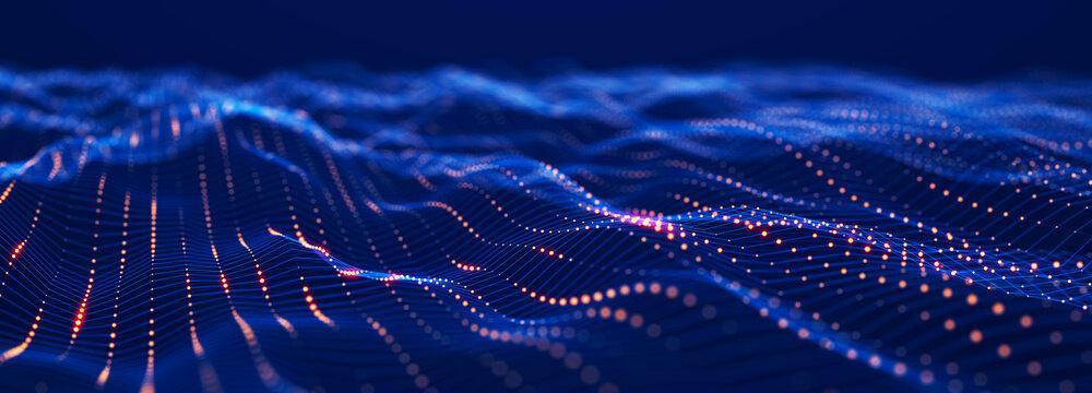 Digital technology background. Network connection. Futuristic background for presentation design. 3d rendering.