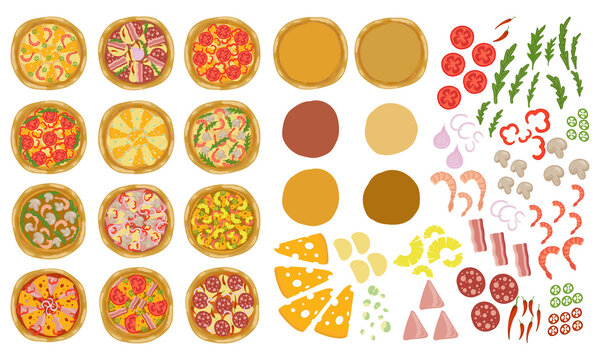 Pizza constructor set with base and toppings. Make or create your pizza. Vector illustration.