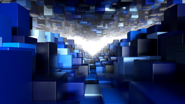 Abstract geometric tunnel made of blue cubes with random movement. 3d illustration