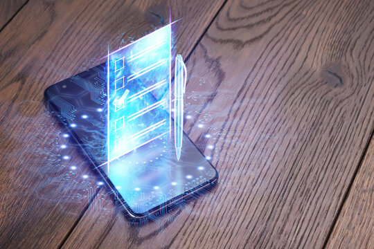 Online voting, Smartphone as a box for Internet voting and e-ballot in the form of a hologram with a check mark. Electronic voting technology concept.