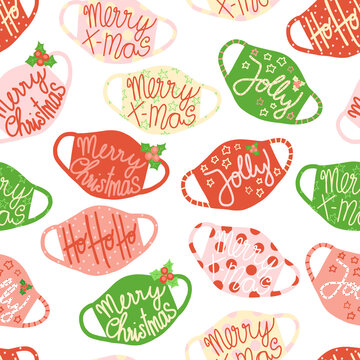 Christmas face masks seamless vector background. Coronavirus pandemic related Holiday design. Repeating pattern with colorful protective face masks. Medical supplies illustration for fabric, scrubs