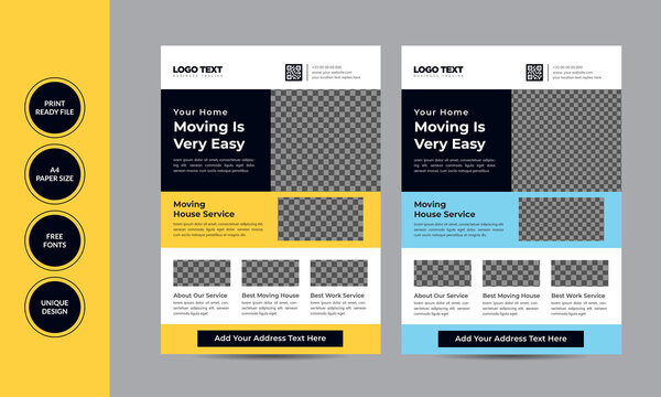 Moving house service flyer template, Concept Template Stylish Colorful Illustration Design.