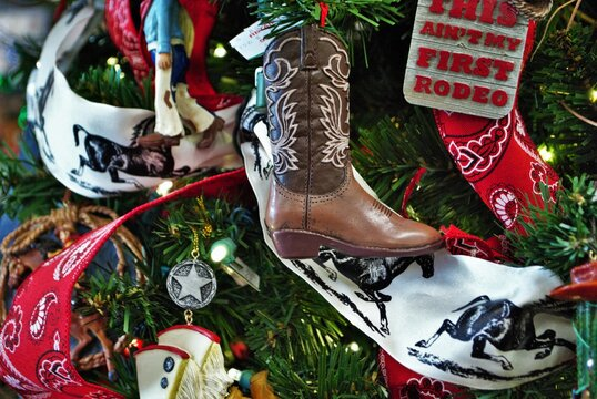 Christmas tree scene background with cowboy theme and lights