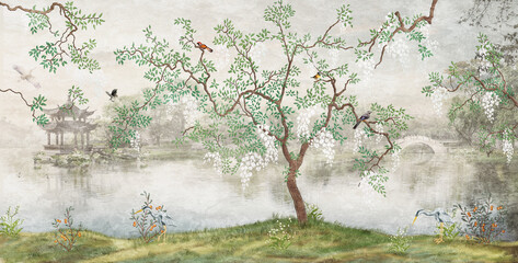 Tree by the lake. Misty landscape. Tree with birds in the Japanese garden. the mural, Wallpaper for interior printing - 389627984