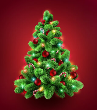3d render, decorated Christmas tree. Evergreen spruce twigs with festive ornaments and colorful lights, seasonal clip art isolated on red background. Greeting card